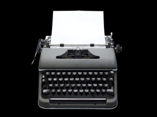Vintage typewriter and paper, isolated
