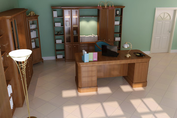 3d rendering luxury classic study room