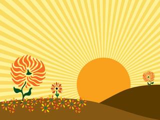 Autumn Sunrise Vector Illustration