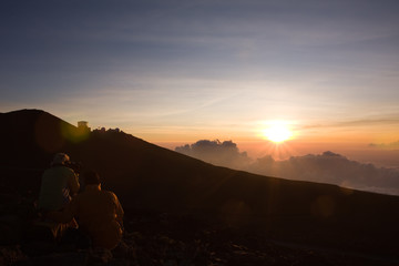 Hikers Witnessing Beautiful Haleakala Sunset