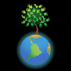 The earth with tree-hands, a vector