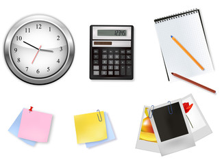 Office supplies, clock and calculator. Vector.