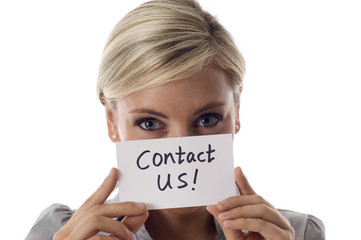 Smiling business woman holding a card- Contact Us!