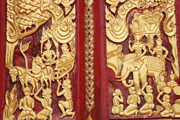 art carving, Wat Charoenphon, Tha Kon Yang, Kantarawichai