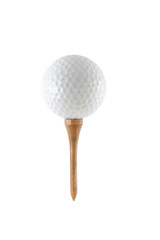 Golf ball on wooden tee isolated on white