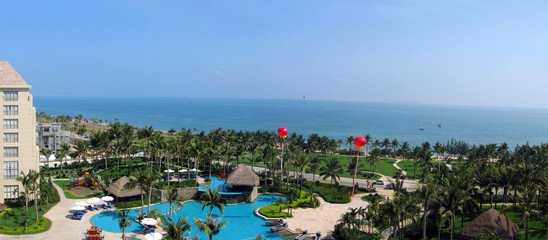 sanya seafront with pool and landscaped gardens