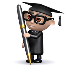 3d Graduate with pen