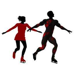 Couple Ice Skating Silhouette