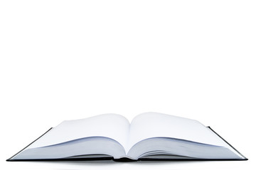 empty open book on a white background