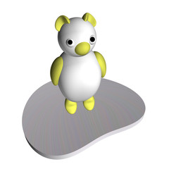 White she-bear on an ice floe, 3d, a white background.