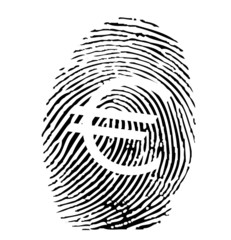 Vector of a finger print with euro sign