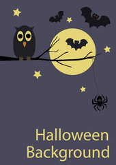 Halloween background with cute animals