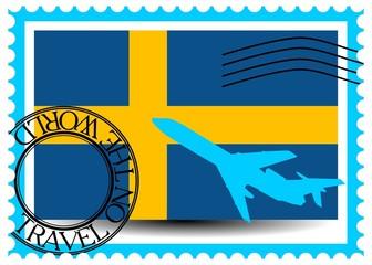 "Stamp ""Sweden (Stockholm), travel by plane on the world"" vector"