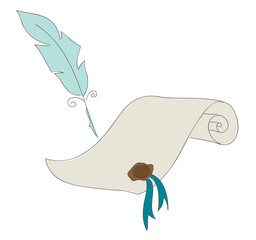 Hand drawn vector illustration of old paper and feather