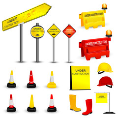 Under Construction items set. Vector illustration