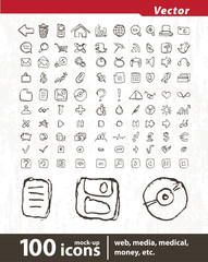 Hundred vector icons for web applications.