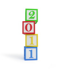 alphabet blocks new year's 2011 isolated on a white background