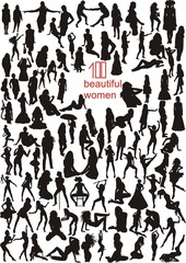 Big set of vector  silhouettes of women