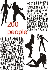 Big set of vector people silhouettes
