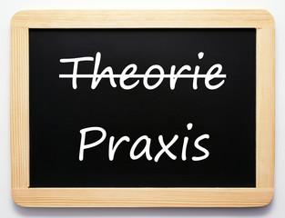 Theorie / Praxis - Konzept Schild