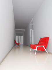 light empty hall of business center with red arm-chairs
