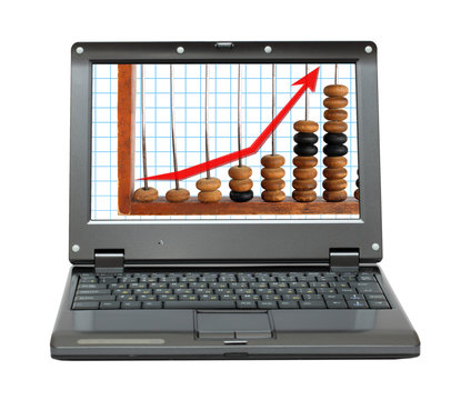 laptop with increase diagram and abacus