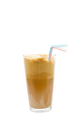 Spoed Foto op Canvas Greek cold coffee - frappe isolated on white