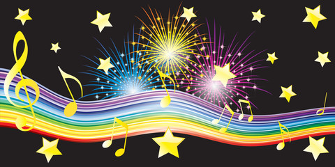 Musical notes, stars and fireworks.