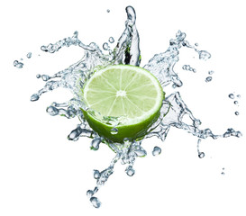 lime in spray of water.
