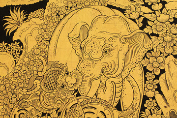 Golden elephant and lion in Thai style painting.