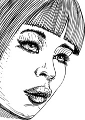 young womans face, sketch