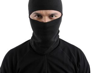 Portrait of a burglar isolated on white background.