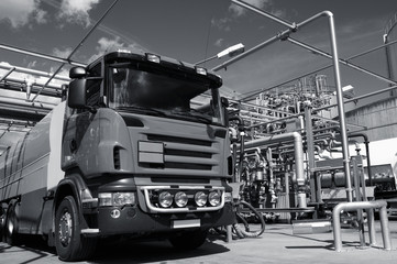fuel-truck loading cargo at refinery