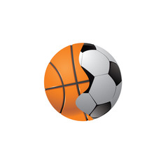 The connected football and basketball balls. Vector illustration