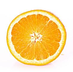 Orange closeup isolated on a white background.