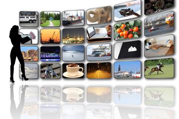 TV Wand mit eigenen gemischten Portfolio Bildern