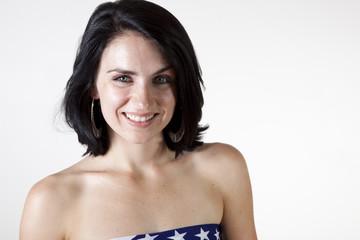 close up of smiling brunette