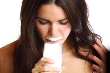 woman drink yogurt