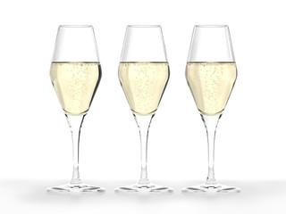3 Champagner-Gläser
