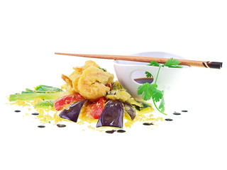 seafood and vegetable tempura isolated on white background