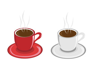 two cup of coffy isolated in white backgrond