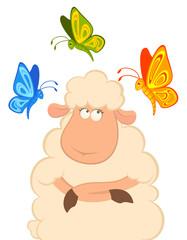 Vector cartoon funny sheep with beautiful butterflies