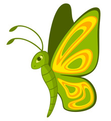 Funny cartoon Tropical Butterfly.