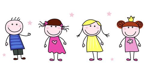 Stick figures - doodle children characters. Vector Illustration