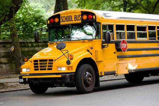 Schulbus auf den Straßen von New York City