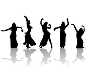 east woman dancers silhouette
