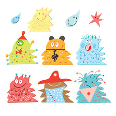 Deurstickers Schepselen Funny Monsters