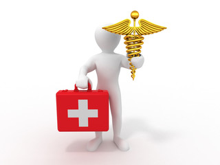 men with symbols of medicine. 3d