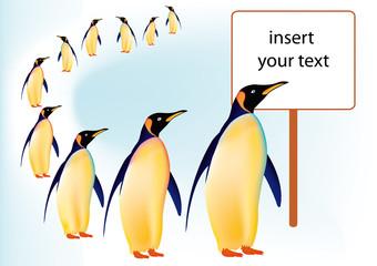 Pinguini in fila AI ad oggetti separabili