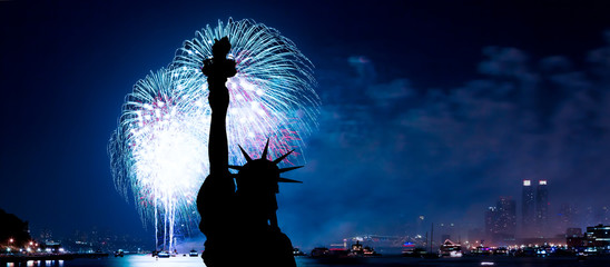 The Statue of Liberty and July 4th firework